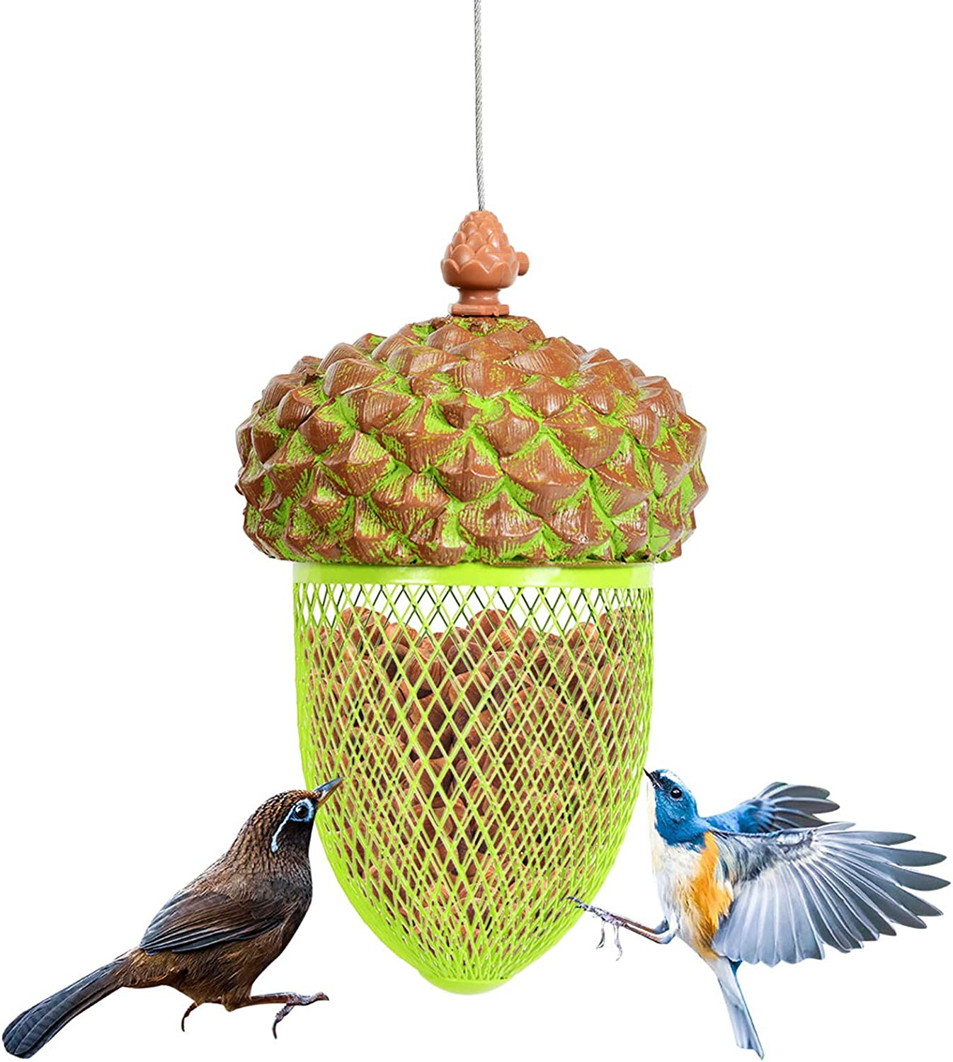 Giantex Metal Acorn Bird Feeder, Outdoor Hanging Food Dispenser with Stainless Steel Wire and Iron Grid, Wild Bird Feeder Hanging House Seed Feeder for Garden Yard, Outside Decoration (Green)