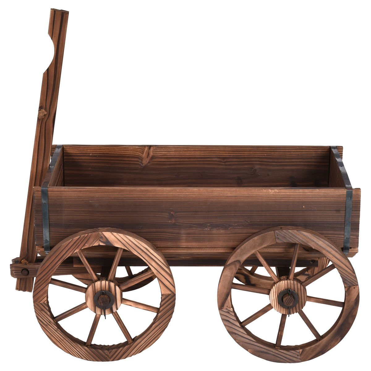 Wood wagon flower planter pot stand wheels home garden outdoor decor for rustic design and antique look you will complement your outdoor décor. by Heaven Tvcz