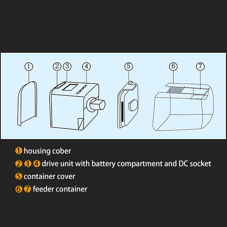 BIGWING Style Alimentador Automático Temporizador Dispensador de Comida el tiempo de alimentación Configuración Pecera Viene con pantalla LCD 175ml con ...