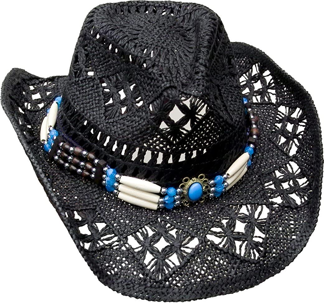 R& B Cowboyhut Strohhut Schwarz mit Hutband leicht Unisex Hut