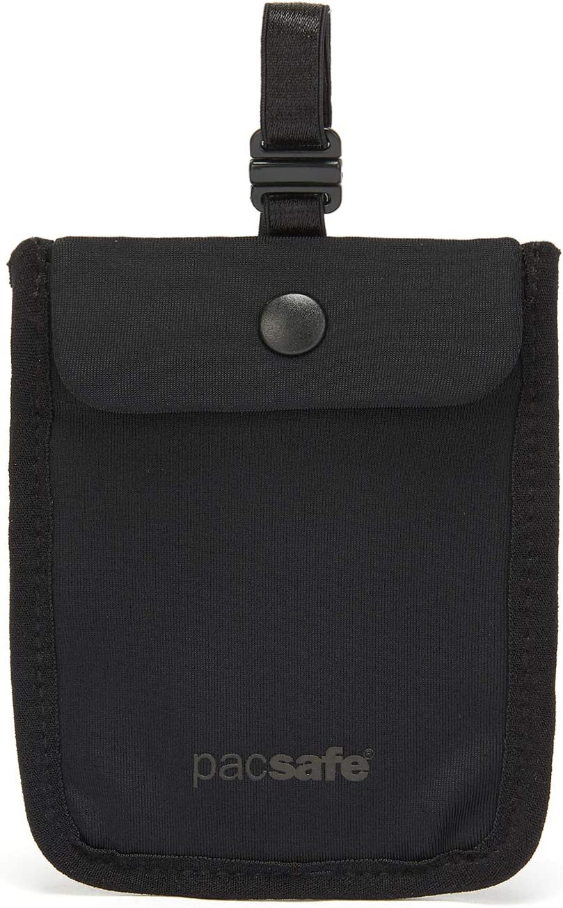 Pacsafe Coversafe S25 Hidden Undercover Travel Pouch for Women (Washable) -Stash up to 6 Credit Cards Plus Money and Key with Adjustable, Elastic Strap Suitable for All Bra Sizes, Black, One