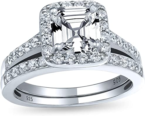 Amazon Com Art Deco Style 2ct Square Solitaire Asscher Cut Aaa Cz Halo Engagement Pave Wedding Band Ring Set 925 Sterling Silver Jewelry