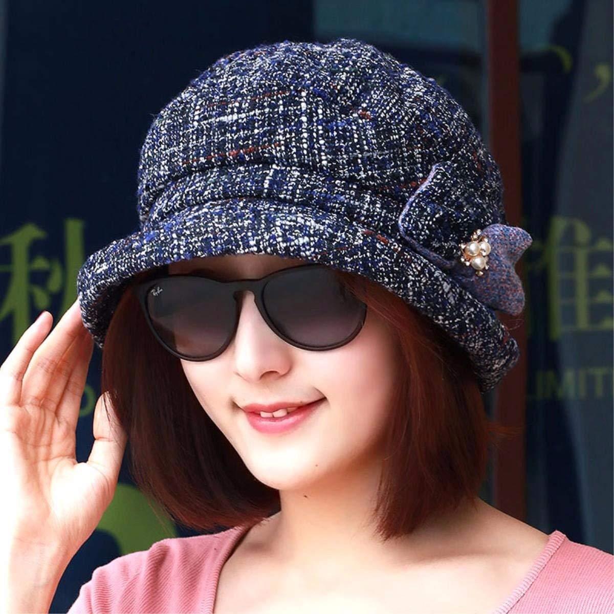 Thundertechs Autumn Winter Fashion flip Side Cap Older Video Thin Basin Cap Mother Cap Warm Cap Fisherman hat Painter hat (Color : The Blue, Size : M)
