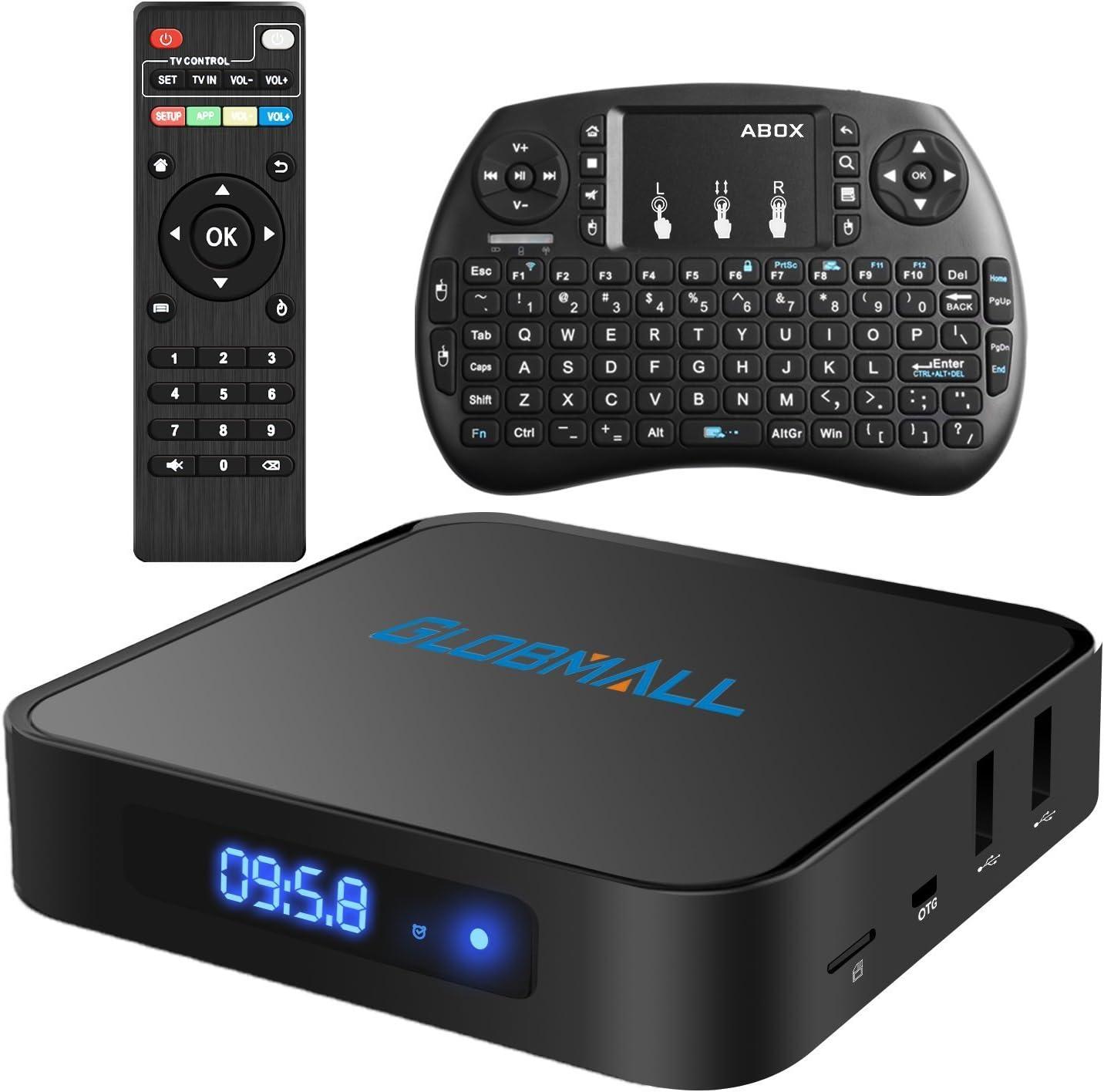 Globmall Android 6.0 TV Box with Mini Tastiera Wireless, 2017 Model X1 4K Android TV Box Supporto Bluetooth 4.0 with Quad Core CPU 64 Bits