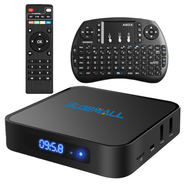 Globmall Android 6.0 TV Box con mini teclado inalámbrico, 2017 Modelo X1 4K Android TV Box Bluetooth compatible con 4.0 con CPU de cuatro núcleos 64 Bits