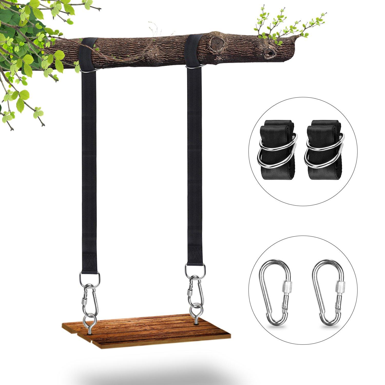 GuFan Swing Straps , Tree Swing Hanging Kit 2PCS 6FT Long Adjustable Tree Swing Rope Strap With Two Heavy Duty Carabiners Holds 2500Lbs For Outside Tree Swings Hammocks
