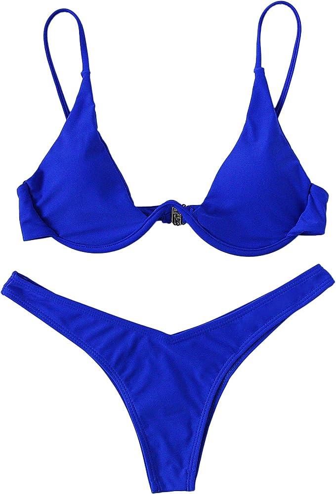 DIDK Mujer Conjunto De Bikini Push Up con Aro con Pernera Alta +2 ...