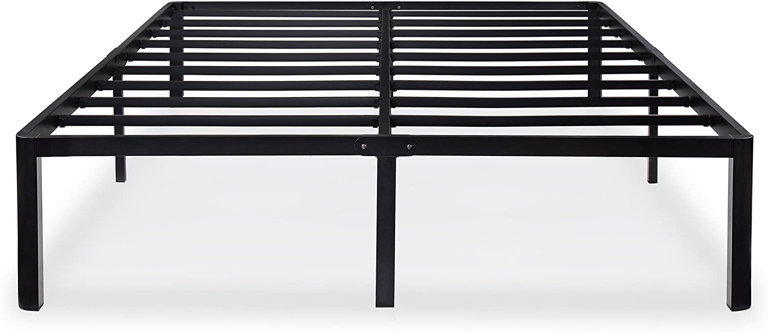 Olee Sleep 14 Inch Metal Black Bed Frame, Slip-Resistant Support, No Box Spring Needed, Easy Assembly, Black, King Size