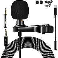 VoJoPi Micrófono de Solapa Tipo C con Cable de extensión de 79 Pulgadas, micrófono de Condensador omnidireccional…