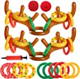 Uniqhia 2 Sets Inflatable Reindeer Antler Ring Toss Game (2 Antlers 20 Rings) for Christmas Party Games
