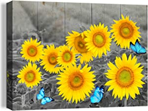 Sunflower Decor Canvas Wall Art Blue Butterfly Farmhouse Rustic Decor Pictures Black and White Painting Prints Framed Artwork for Bedroom Kitchen Bathroom Living Room Office Home Decor 12