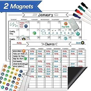 "Magnetic Whiteboard Chore Chart & Reusable Dry Erase Calendar Set – For Kids, Teens, Adults - Reward Behavior Chart - Kids Responsibility Magnets & Refrigerator Reward Set – 17"" x 11"""