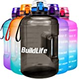 BuildLife Gallon Motivational Water Bottle Wide Mouth with Time Marker/Flip Top Leak Proof Lid/One Click Open/BPA Free/Multip