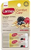 Carmex Comfort Care Lip Balm - With Colloidal Oatmeal - 100% Natural - Mixed Berry - 2 Count Sticks Per Package - One (1) Package (Total of 2 Lip Balm Sticks)