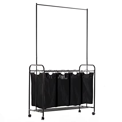 Homcom 4 Bag Rolling Laundry Sorter Cart Heavy Duty With Hanging Bar