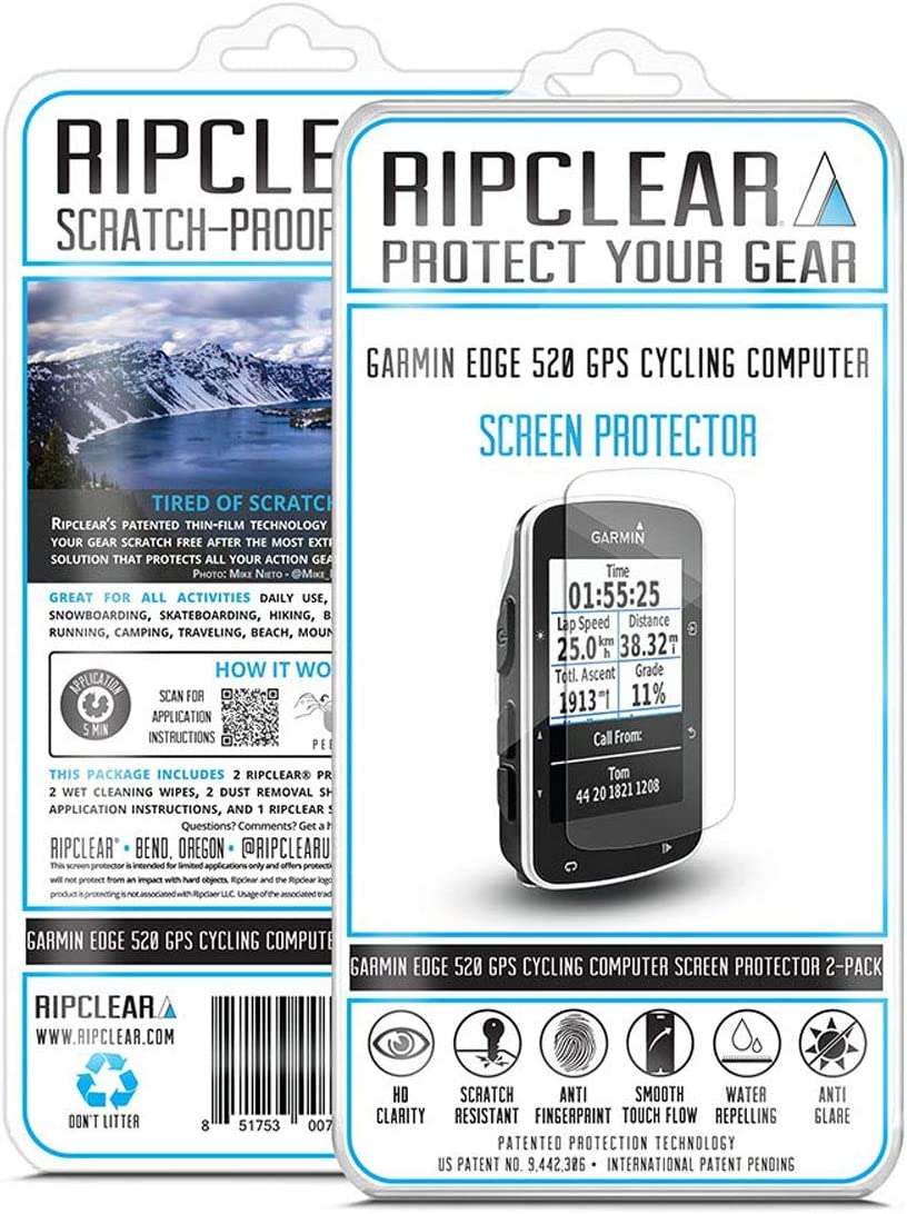 Ripclear Compatible with Garmin Edge 520 Cycling Computer Designed in The USA GPS Screen Protector Kit 2-Pack Scratch-Resistant