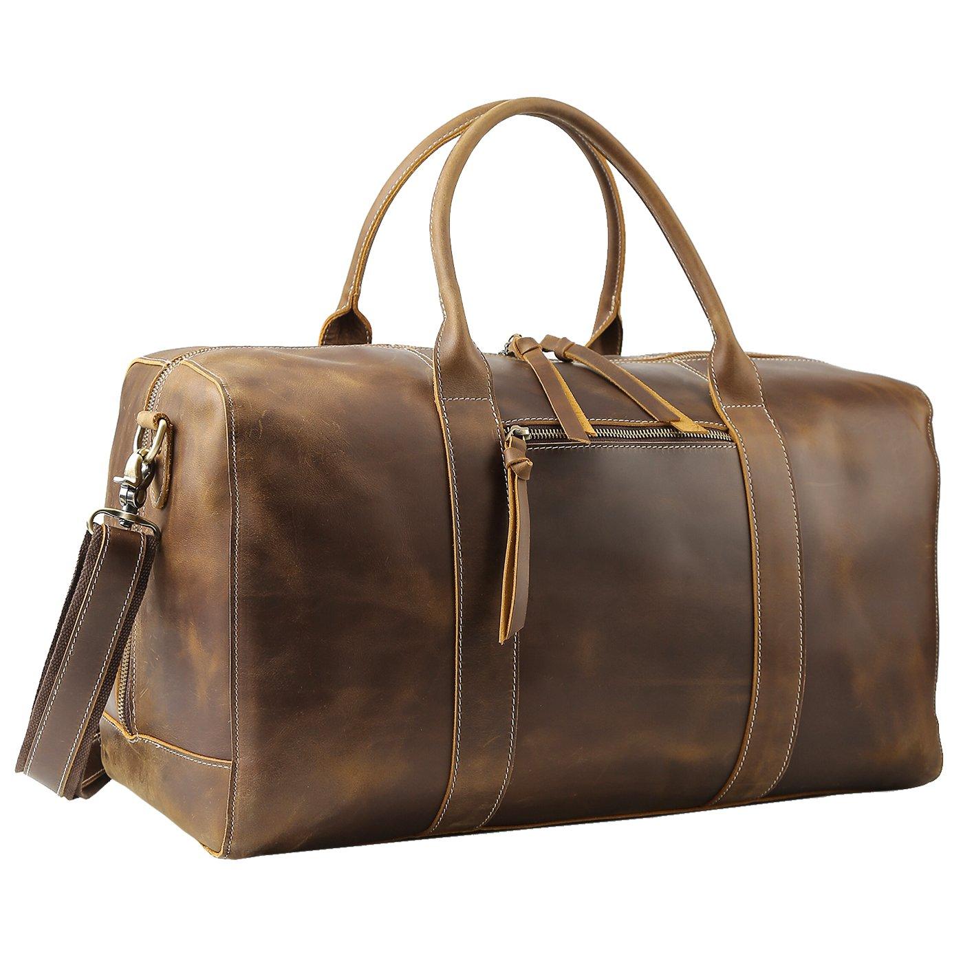 Polare Mens Genuine Leather Duffel Bag Overnight Travel Duffle Weekender Bag (Checked-Medium(20))