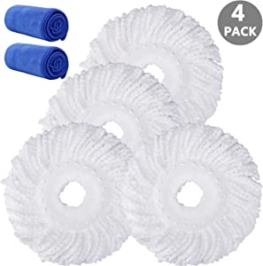 4 Pack Mop Head Replacement for Hurricane Refill, Microfiber Spin Mop Replacement Heads Easy Cleaning Mop Head Replacement Bonus with 2 Pack Microfiber Cloth