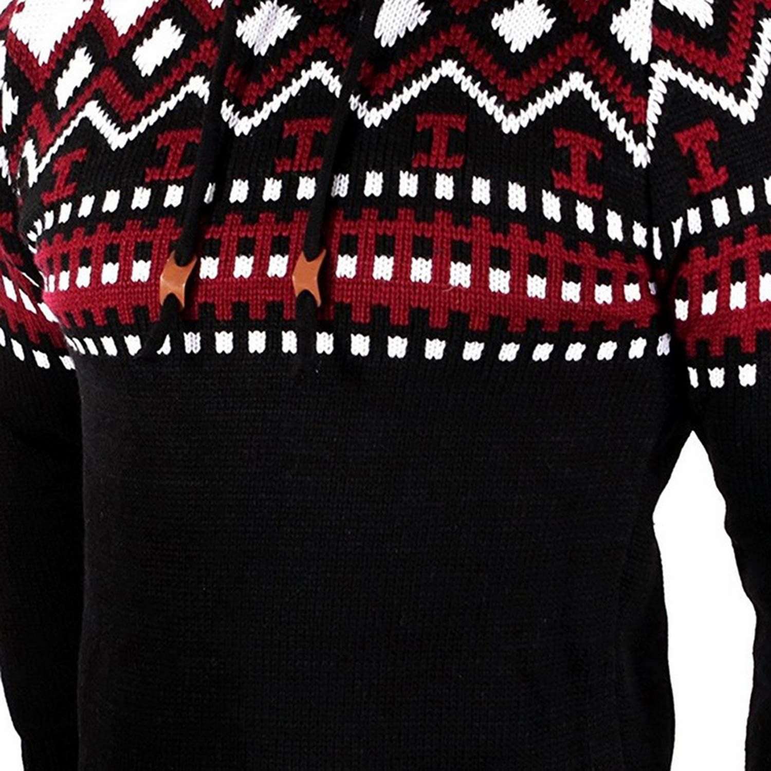 Christmas Sweater Men Outerwears Pullover Winter Autumn Sweater Hooded Sweater,Black,L
