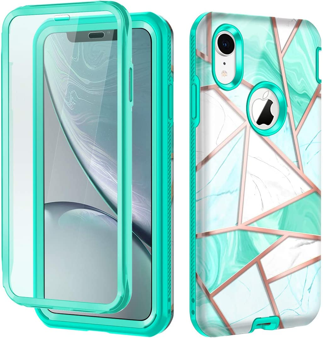 Hekodonk Compatible iPhone XR Case Built in Screen Protector Heavy Duty High Impact Hard PC TPU Bumper Full Body Protective Shockproof Anti-Scratch Cover for Apple iPhone XR 6.1 Inch 2018-Marble Mint