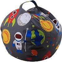 Junshion Handle Kids Fun Pattern Bean Bag Stuffed Clothes Plush Toy Fabric Chair Storage Soft Pouch Household Tool (B…