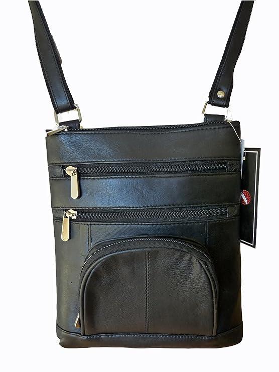 Pelle Nera Borsa Da Viaggio - Uomo in Vera - L Telefono Tasca 4 Tasche Con  Zip - A Tracolla Sacchetto Di Collo - Holster Lato or - Holiday Organiser -  H23cm ... 947da72522f