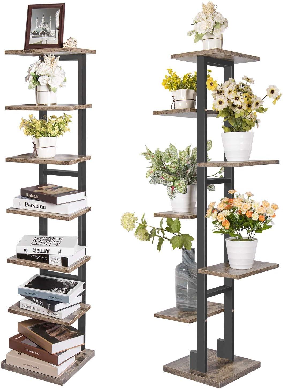 X-cosrack 7 Tier Bookshelf Organizer Tree Bookcase,Industrial Ladder Shelf,Free Standing Books Storage Rack Shelves for Home Office,Living Room, Bathroom