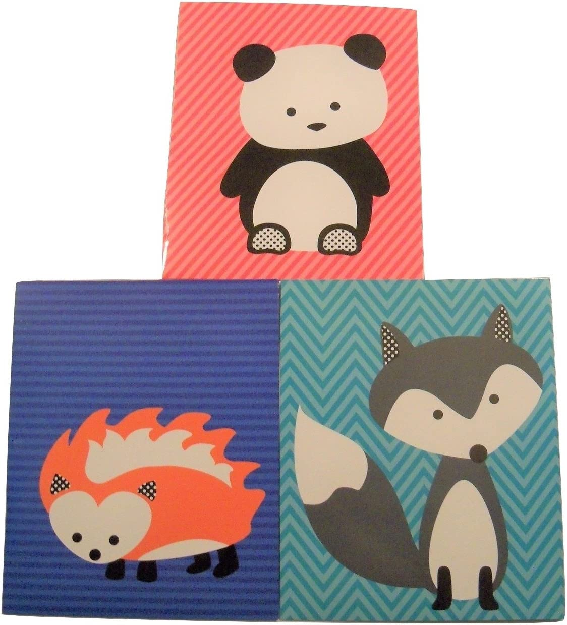 Studio C Carolina Pad 3 Folder Set ~ The Hair of The Dog Collection (Panda on Pink Stripes, Hedgehog on Navy, and Fox on Blue)