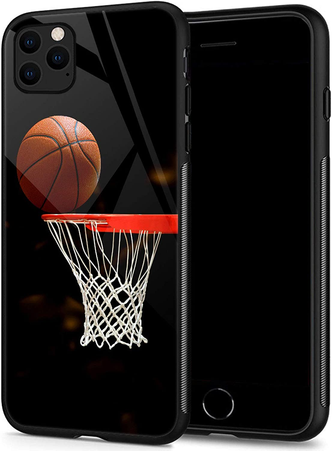 TnXee Compatible with Case for iPhone 12, Basketball Organic Glass Mobile Phone Case Pattern Mobile Phone Shell Black Cover Case Compatible with Case for iPhone 12/12 pro 6.1-inch