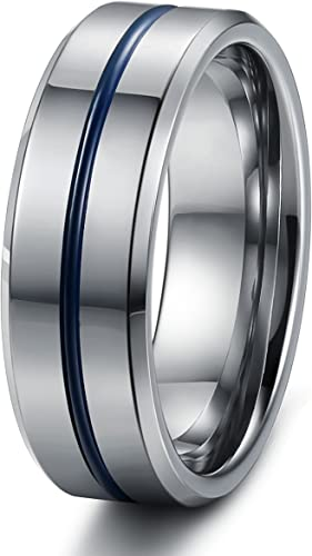 8mm Tungsten Carbide Dome Duo Grooved Satin Ring Tungsten Wedding Band Size 7 to 13