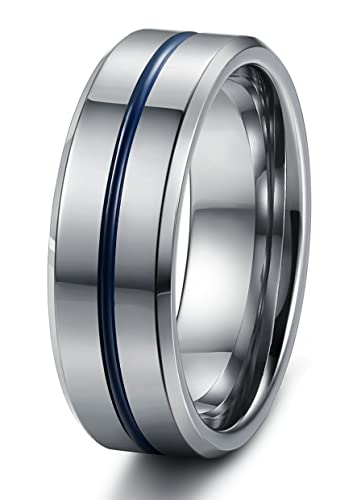 Tungary Jewelry 8mm Mens Tungsten Carbide Wedding Band Engagement