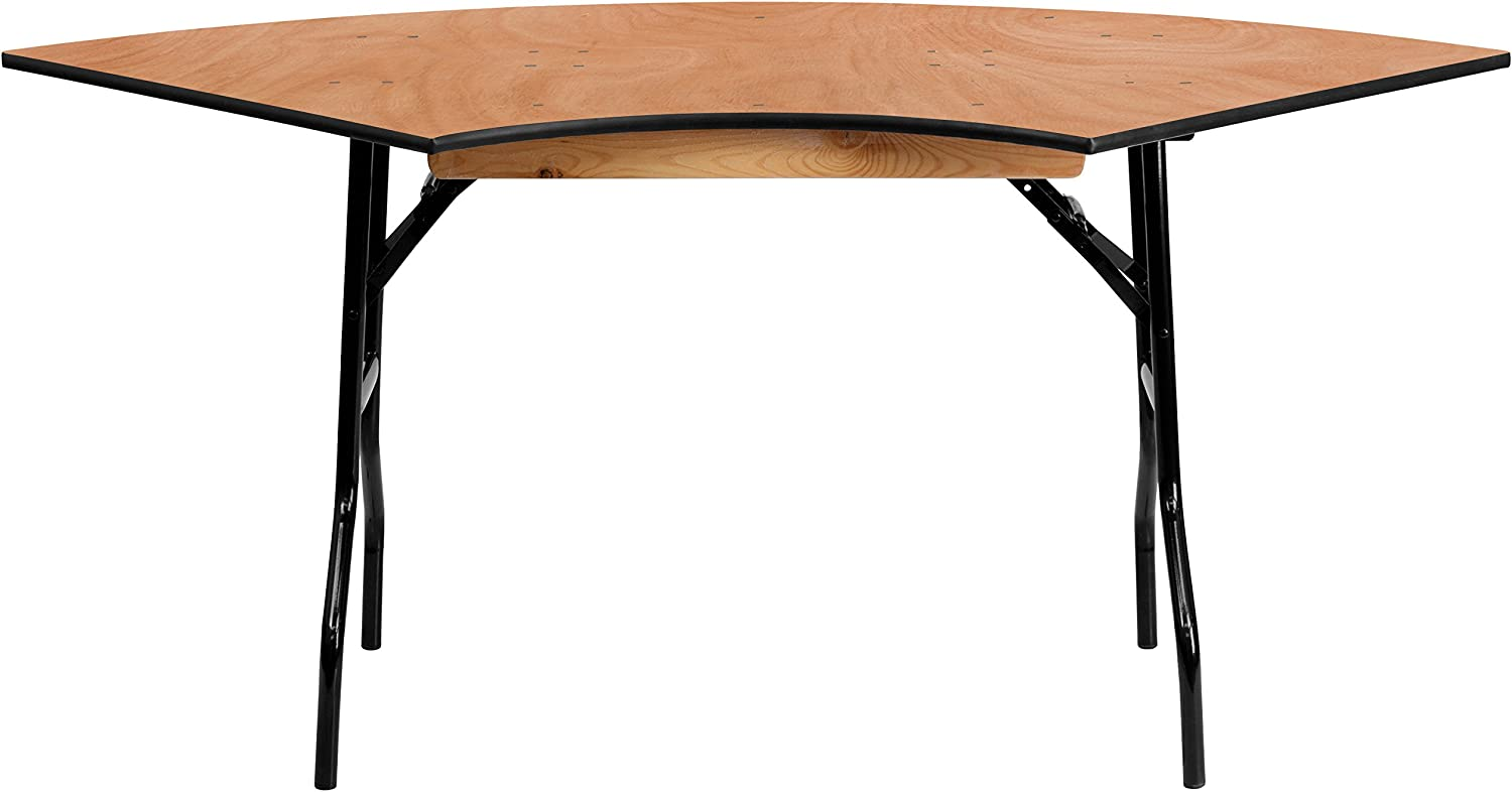 Flash Furniture 5.5 ft. x 2.5 ft. Serpentine Wood Folding Banquet Table