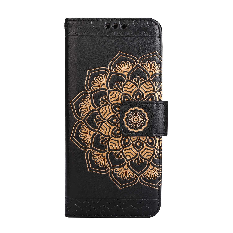 Coque Galaxy S9 Plus, SONWO La Mode Motif de Mandala Fleurs Flip en Cuir PU Housse Etui avec Fermoir magnétique, Fentes de la Carte pour Samsung Galaxy S9 Plus, Noir