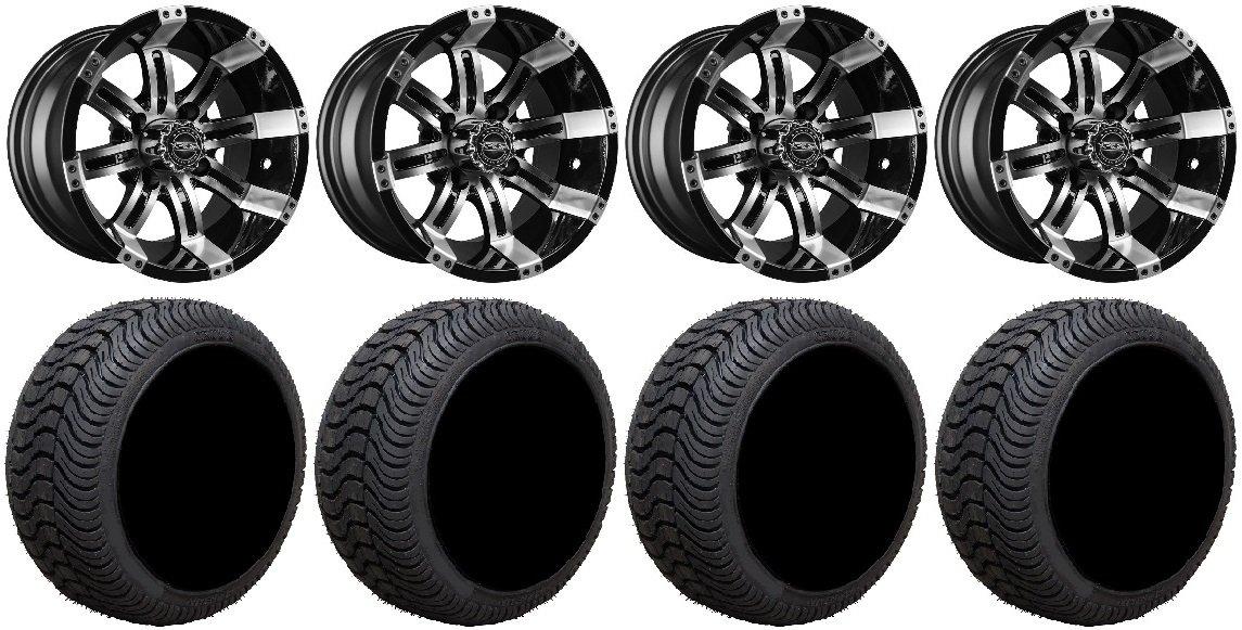 Bundle - 9 Items: Madjax Octane Mach Golf Wheels 12'' 215x35-12 Cruze Tires [for E-Z-GO & Club CarGolf Carts]