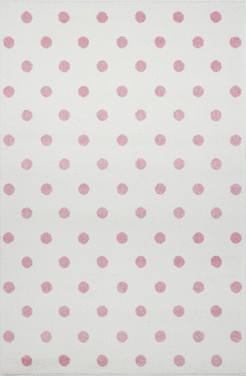 Livone Kinderzimmer Baby Kinderteppich Punkte Kreise in Creme rosa Größe 160 x 220 cm
