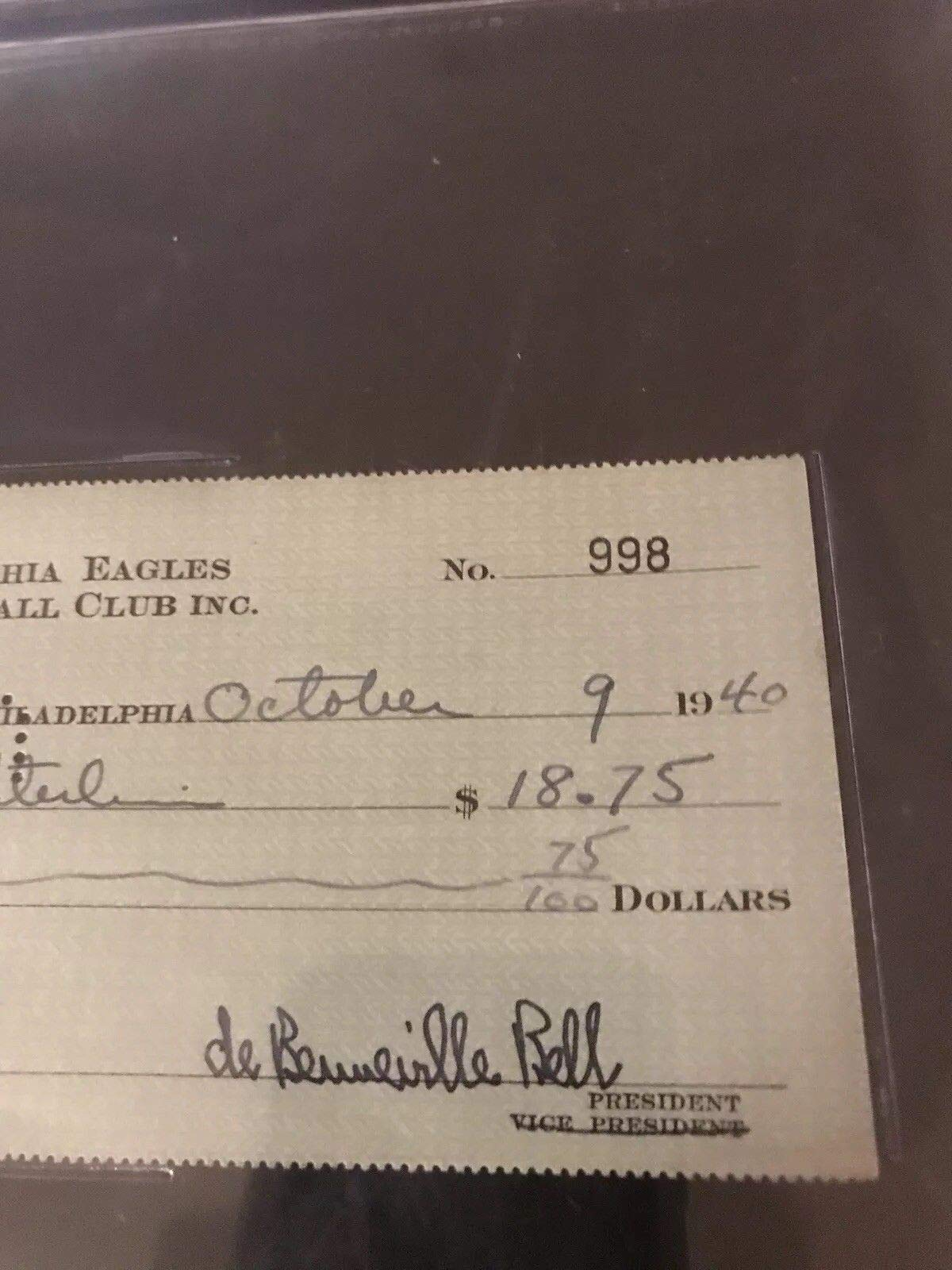 Bert Bell Philadelpia Eagles HOF Autographed Signed Check JSA Authentic Beckett Authentic Slabbed