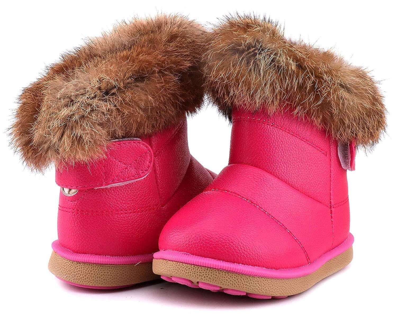 WYSBAOSHU Ni/ña Invierno Botas de Nieve Cuero de PU Zapatos
