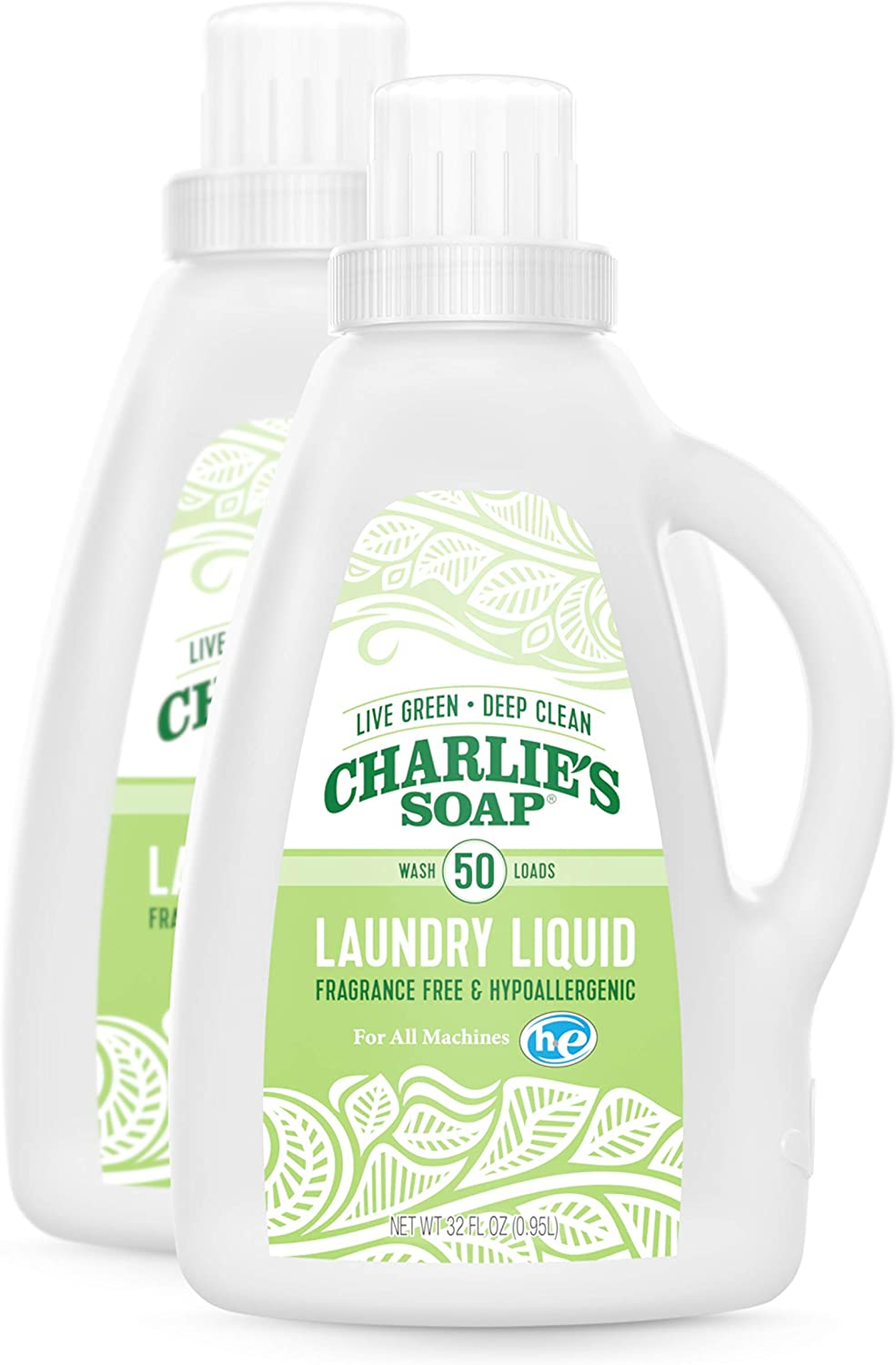 Charlie's Soap Laundry Liquid (50 Loads, 2 Pack) Natural Deep Cleaning Hypoallergenic Laundry Detergent – Safe, Effective and Non-Toxic