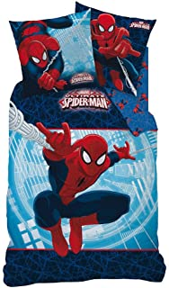 Familando Spiderman, Ropa de Cama Reversible de 135 x 200 cm y Almohada de 80