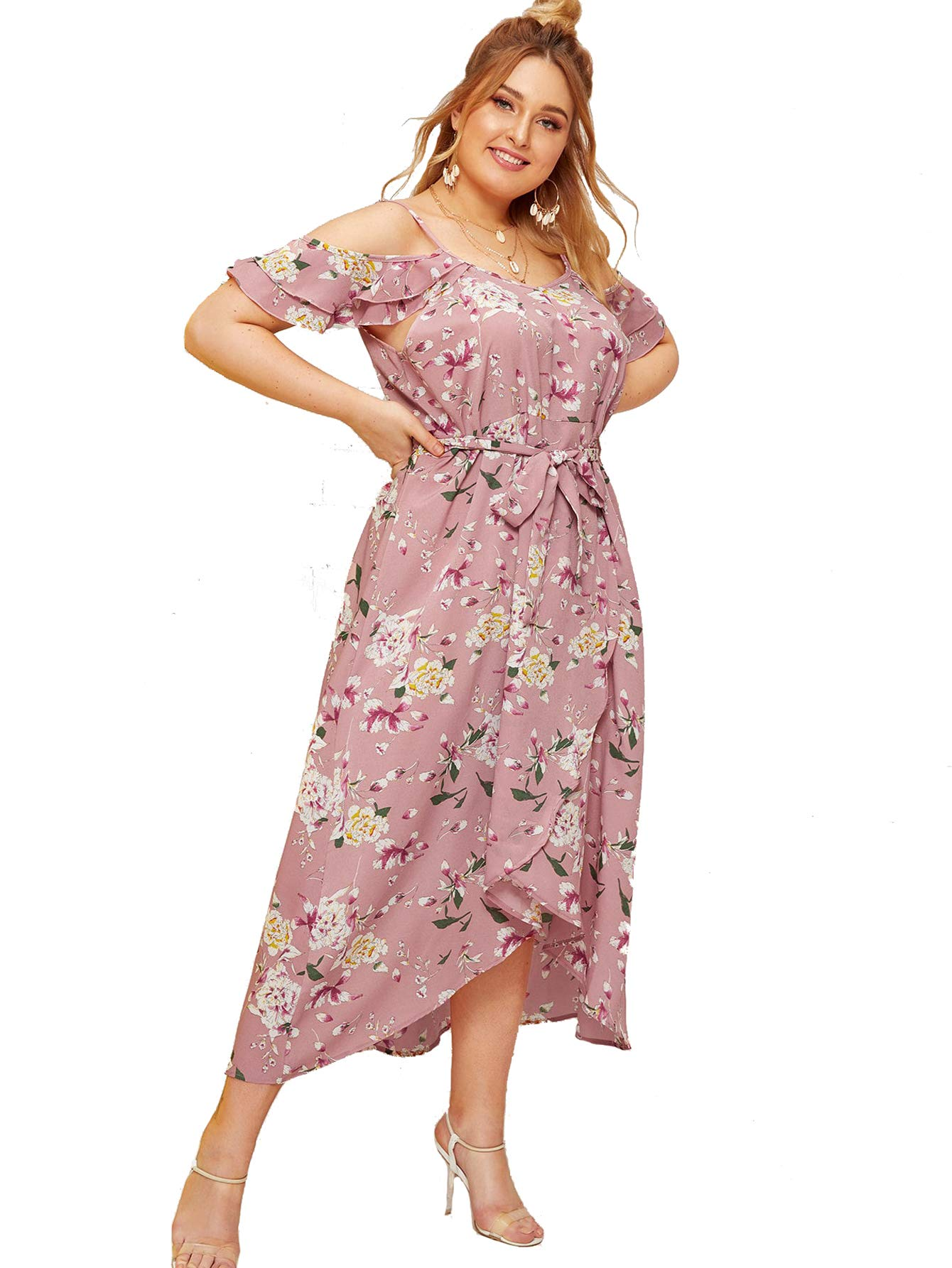 Milumia Women Plus Size Bridesmaid Party Homecoming Dress Cold Shoulder Pink 3X by Milumia