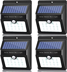 Solar Lights Outdoor, Sunix 22 LED Wireless Waterproof Motion Sensor Outdoor Light for Patio, Deck, Yard, Garden, 4 Pack