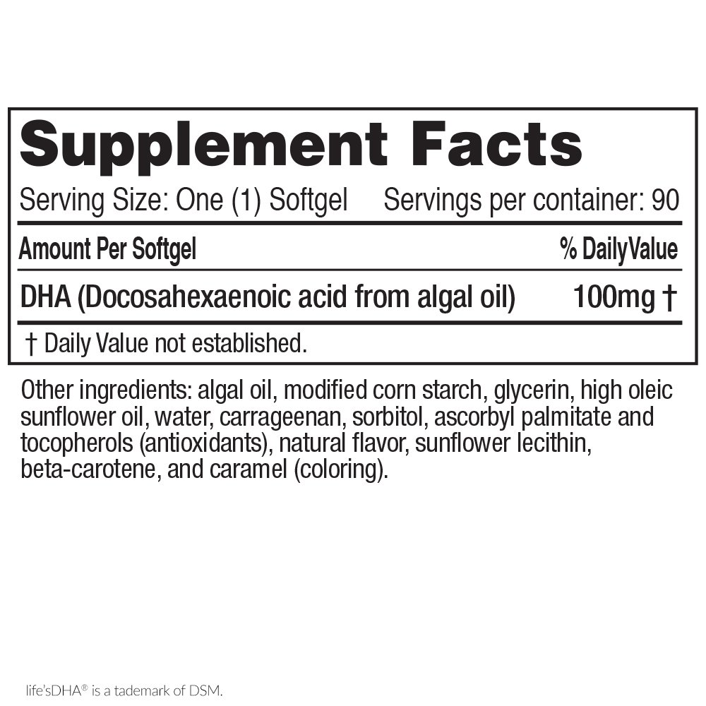 Life's DHA Kids All-Vegetarian DHA Dietary Supplement | Supports a Healthy Brain, Eyes & Heart* | 100% Vegetarian | from All-Natural Plant Source | 100 mg of DHA Omega-3 | 90 Easy-to-Swallow Softge