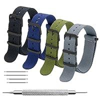 MEGALITH Cinturino Orologio 4 Pacchetti 16mm 18mm 20mm 22mm 24mm Balistico Cinturino Nato Cinturino in Nylon con Fibbia In Acciaio Inossidabile Nero