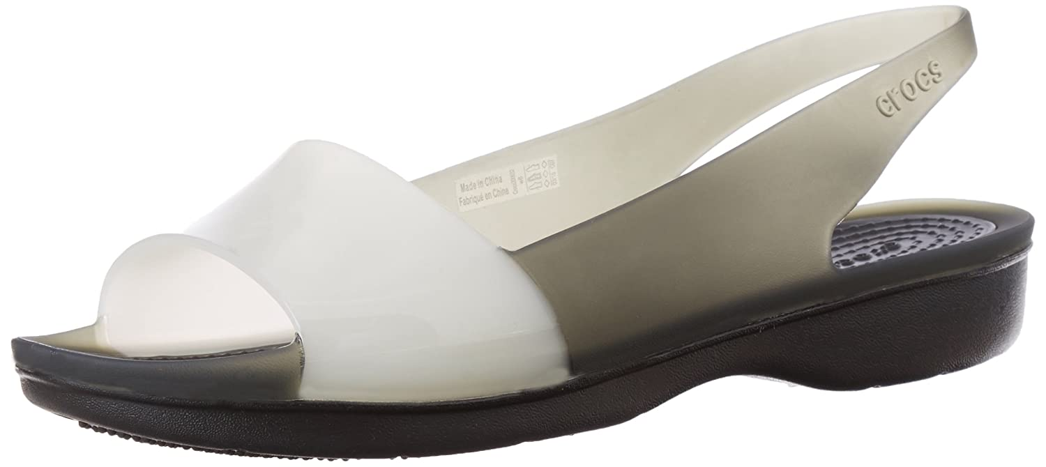 f2d34829b714 crocs Women s Colorblock Flat W Black and Stucco Rubber Fashion Sandals -  W8  Buy Online at Low Prices in India - Amazon.in