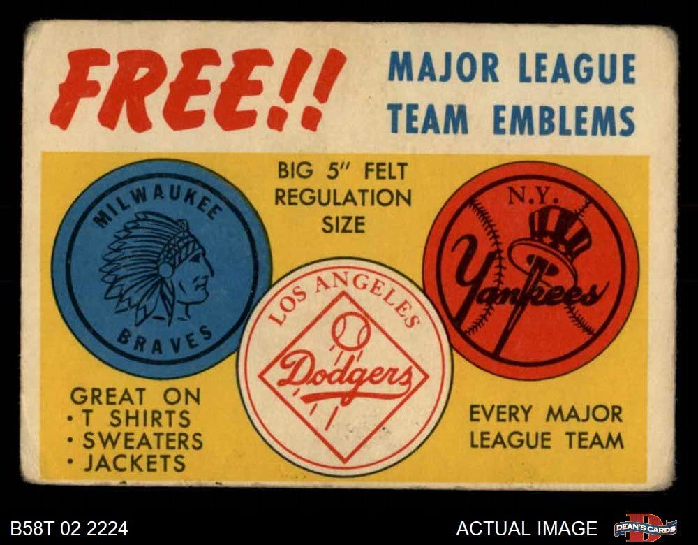1958 Topps Felt Team Emblems (Baseball Card) Dean's Cards 2 - GOOD 71YMVfjt6LL