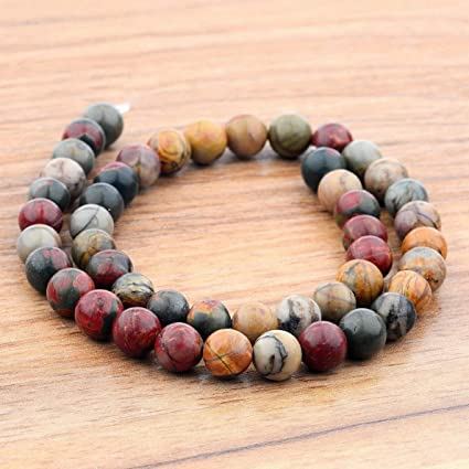2dfcde97abdb Amazon.com  Mikash Natural Stone Sea Sediment Gemstone Round Beads ...