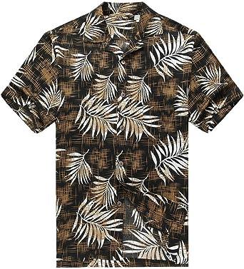 Hawaii Hangover Camisa Hawaiana de los Hombres Camisa Hawaiana Hojas de árbol de Pan en Negro: Amazon.es: Ropa y accesorios