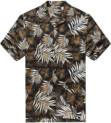 Hawaii Hangover Camisa Hawaiana de los Hombres Camisa Hawaiana Hojas de árbol de Pan en Negro