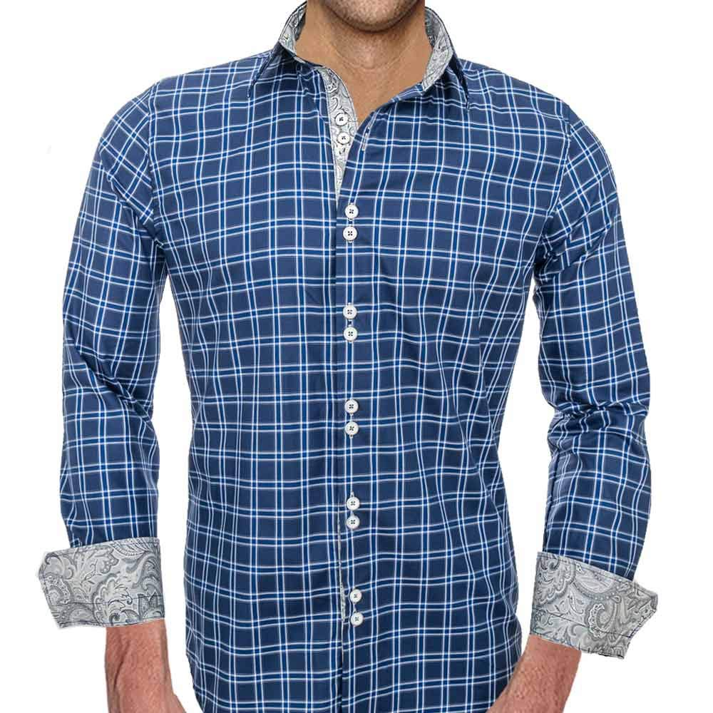 Mens Dark Blue Plaid Dress Shirts - Made in the USA
