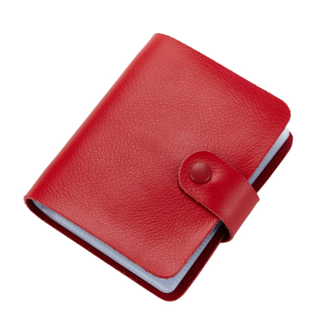 Business Card Holder, Boshiho Genuine Leather Credit Name ID Card Holder Book, Office Journal Business Cards Organizer (Red)